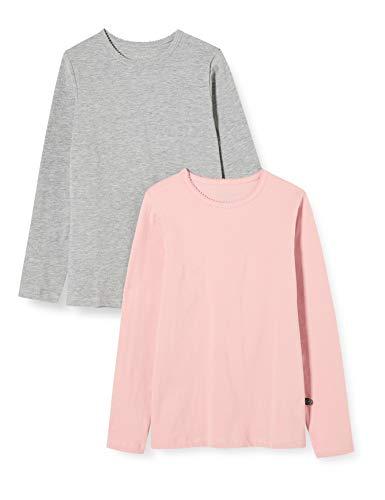 Minymo 2-pack kinderen meisjes T-shirt, lange mouwen, leeftijd 7-8 jaar, maat: 128, kleur: roze en grijs, 3935
