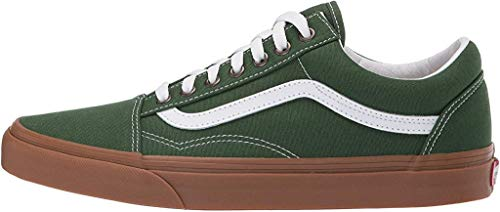 Vans Unisex Old Skool Classic Men Women Skate Shoes (12 Women / 10.5 Men, Gum Greener Pastures/True White)