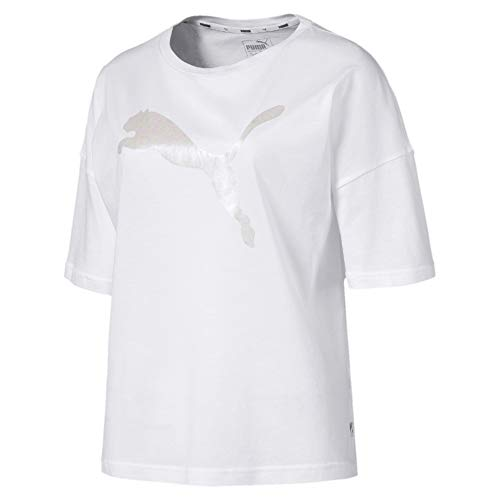 PUMA Summer Fashion tee Camiseta, Mujer, White, S