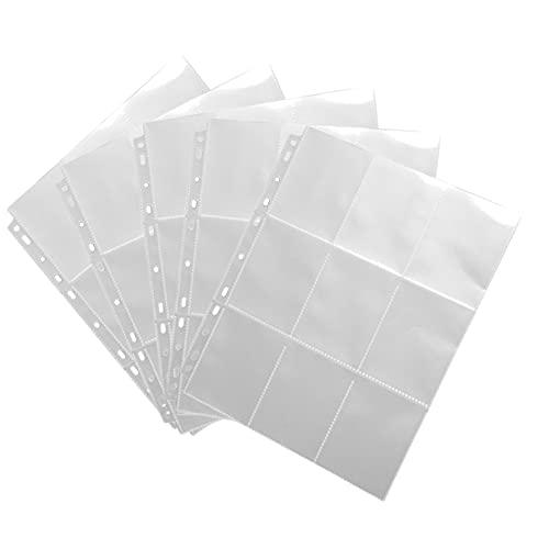 HEMO Lot de 5 feuilles de protection transparentes pour cartes à collectionner avec 90 poches pour cartes Pokémon Football Sport