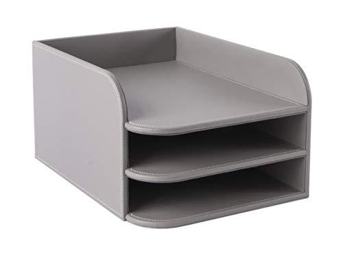 Osco BKPUD5TT Designer-Briefablage, Kunstleder, 5 Etagen Grau (3 Ebenen)