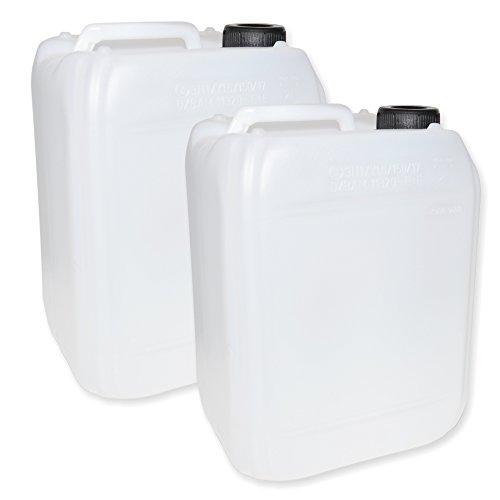2 Stück Kanister (leer) je 5 Liter aus HDPE transparent milchig mit Schraubdeckel - Wasserkanister 5l - mit Zulassung