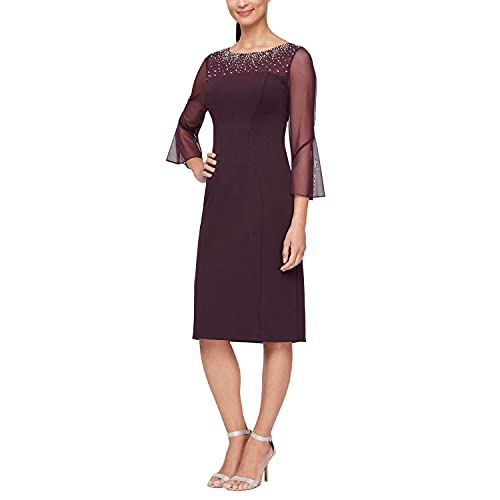 Alex Evenings Women's Short Shift Dress with Embellished Illusion Detail, Aubergine, 10