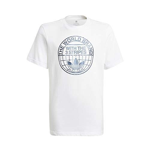 adidas GN4126 Tee T-Shirt Bambino White/Crew Navy 1213