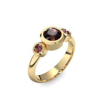Goldring Granat 585 + inkl. Luxusetui + Granat Ring Gold Granatring Gold (Gelbgold 585) - Tripple Emotion Amoonic Schmuck Größe 54 (17.2) MW01 GG585GRFAGRFA54