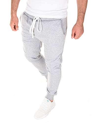 WOTEGA Jogginghose Herren Floki - Bequeme Männer Trainingshose Fleece - graue Coole Sweathose Sport Jogging, Grau (Dapple Gray 163907), XL