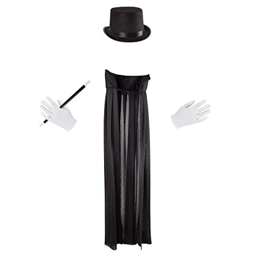 Hey! Play! Kids Magician Costume Set-Dress Up Outfit with Cape, Top Hat, Gloves, Wand- Fun Pretend Play Magic Show Accessories for Boys & Girls, Model:80-YC-1796