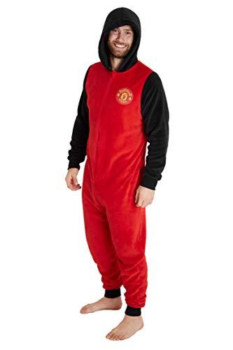 Manchester United F.C. Jumpsuit Herren, Einteiler Onesie für Männer und Jungs, Fleece Overall Kostüm mit Kapuze, One Piece Hausanzug Geschenke für Erwachsene (L)