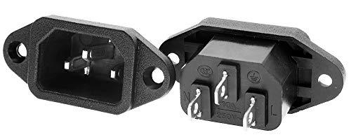 3 Pack Screw Mount 3 Pins Inlet Power Plug Socket IEC320 C14 AC 250V 10A by QTEATAK