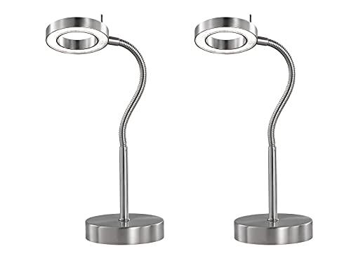 Juego de 2–Lámpara de mesa LED Stakeboard Naomi, brazo flexible, 3niveles de intensidad, altura 40cm, en níquel mate con vidrio acrílico Piedras