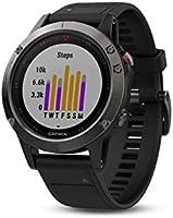 Garmin Fenix 5- Reloj multideporte, con GPS y medidor de frecuencia cardiaca, lente de cristal y bisel de acero...