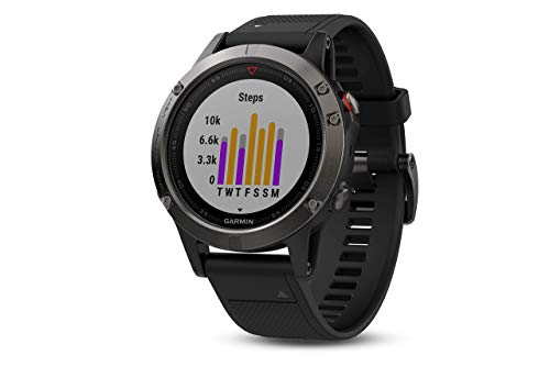 Garmin Fenix ​​5- multisport watch, with GPS and heart rate meter, glass lens and stainless steel bezel, 47 mm, black ribbon