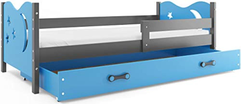 Kinderbett NIKO 160x80cm Farbe  Grau + 2. Farbe zur Wahl; mit Lattenrost und Matratze (blau)
