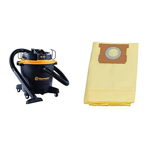 Vacmaster Professional - Professional Wet/Dry Vac, 16 Gallon, Beast Series, 6.5 HP 2-1/2' Hose (VJH1612PF0201), Black & 12-16 Gallon High Efficiency Dust Bag, 3 Pack, VHBL