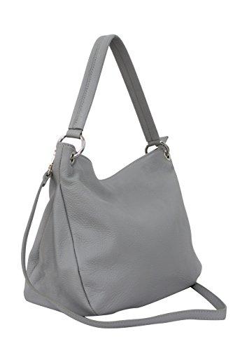 AMBRA Moda Damen echt Ledertasche Handtasche Schultertasche Beutel Shopper Umhängtasche GL002 (Hellgrau)
