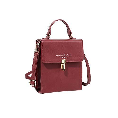 Women's Small Crossbody Bag Top Handle Clutch Handbags Fashion Shoulder Bag Tote Purse (Small, Wine)