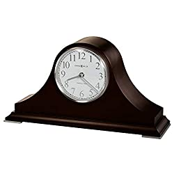 Howard Miller Salem Mantel Clock 635-226 – Black Coffee Finish, Sharp White Dial, Nickel Finished Arabic Numerals, Tambour Style Home Décor, Quartz Single-Chime Movement