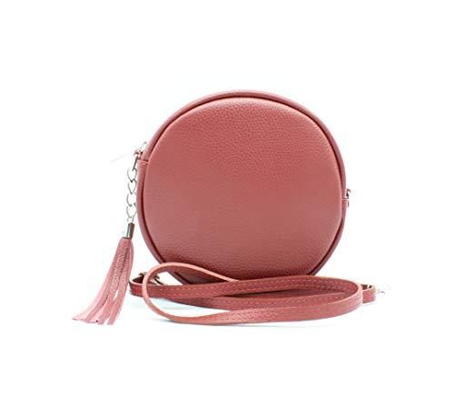 OKTRADI® Damen Schultertasche Handtasche Ledertasche, (B x H x B) 19 x 19 x 4,5 cm Made in Italy (Dunkelrot)