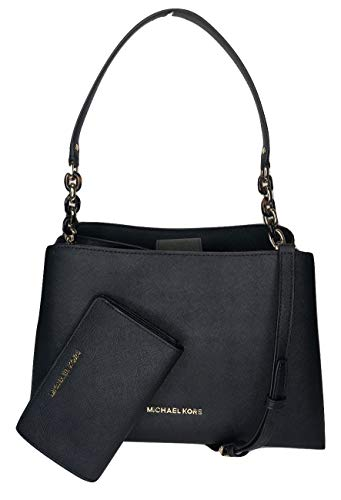 Bundle of 2 items: MICHAEL Michael Kors Sofia Large EW Satchel bundled with Michael Kors Jet Set Travel Slim Bifold Wallet Single top handle with turtle chain detail in gold, Magnetic snap top closure Interior : 2 main compartment, zipped compartment...