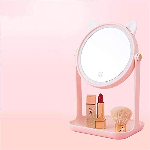 Cadeau De Noël LED Miroir De Maquillage Miroir De Maquillage LED Touch Dimmer 360 Degrés Réglable Maquillage Miroir Lapin Rose Cat_Pink
