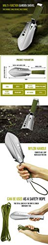 CKG Metal Detector Stainless Steel Landscaping Detecting Digging Digger Shovel Tool with Handy Belt Holder Treasure Hunting w/Sheath Comfortable Hand Garden Tools - Gardener Gift