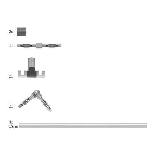 Paulmann Stangensystem Spice Stange Gerade 4x680mm Max.300W Chro, Chrom, 972.82
