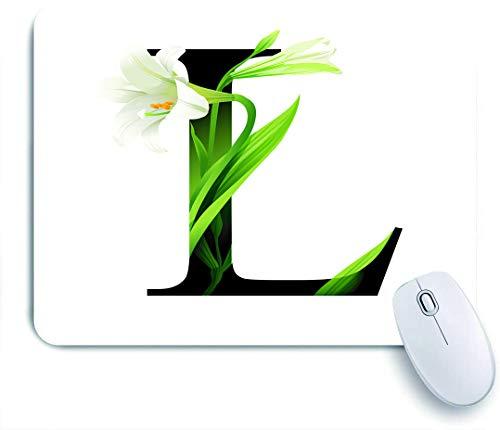 GugeABC Tappetino per Mouse da Gioco Decorativo,Lettera L Alfabeto con Fiore di Giglio ABC Tipo di Concetto Tipografia Design,Tappetino per Mouse per Computer da Ufficio con Base in Gomma Antiscivolo