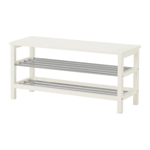 Ikea TJUSIG - Banco con almacenaje del Zapato, Blanco - 108x50 cm