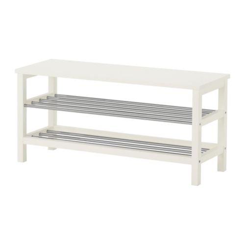 IKEA TJUSIG Bank mit Schuhablage in weiß; (108x50cm)