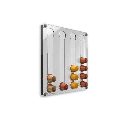 Plexidisplays 1303123 Wand-Kapselhalter für Nespresso-Kapseln, Design Klassik Mini, 29 x 29 cm, transparent