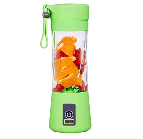 Portable Blender,Household Juicer Cup 380ml Fruit Mixer Bottle with Stainless Steel 6-Blades in 3D,2000mAh USB Rechargeable Batteries,Detachable Cup,Baby Cooking ,Mixing Fruit Juice,Vegetable Juice,Milkshake,Ice Drink (Green)