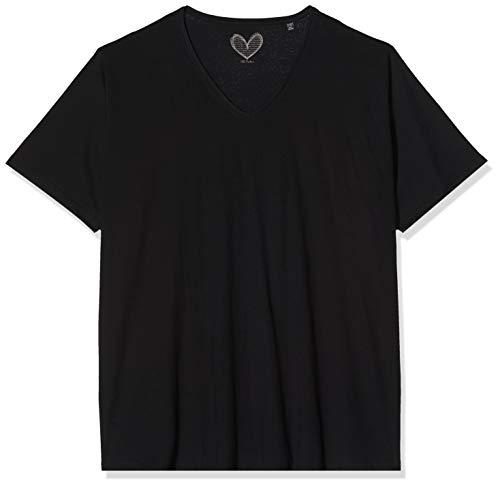 Ulla Popken Damen T-Shirt, V-Ausschnitt, Schwarz (schwarz 10), 54/56