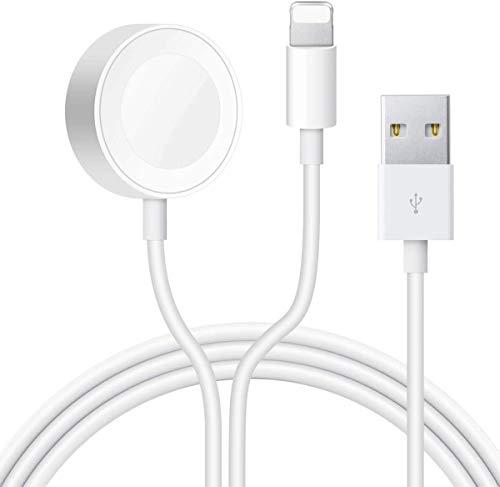 Hoidokly Cargador Inalámbrico Magnética para iWatch, 2 en 1 Charger y Cable Cargador Portátil USB para iWatch Series SE/6/5/4/3/2/1, iPhone 12/12 Pro Max/11 Pro/XS/XR/X/8/7/iPad Air Pro Mini