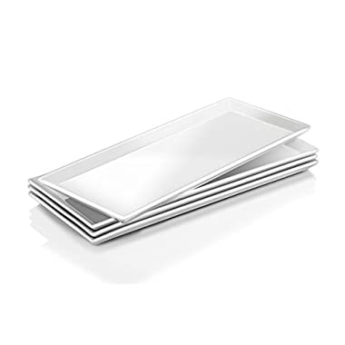DOWAN 14.5-inch Porcelain Serving Platters/Rectangular Plates - 4 Packs, Natural White