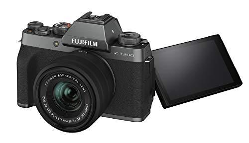"""Fujifilm X-T200 Fotocamera Digitale Mirrorless 24MP con Obbiettivo XC15-45mmF3.5-5.6 OIS PZ, Mirino EVF, Schermo LCD Touch da 3,5"""" Vari-Angle, Filmati 4K, Argento Scuro"""