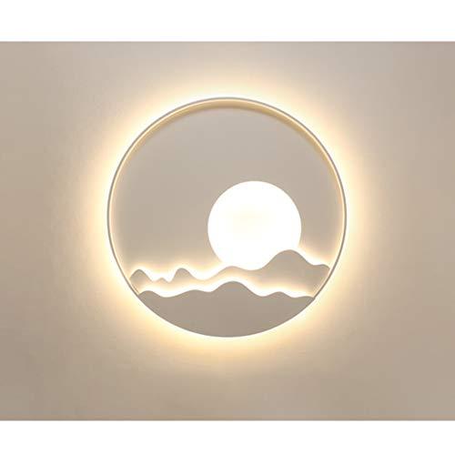 Asian Wall Décorations intérieur LED Applique murale, mur Cercle lumière Sunrise mur Lampe Gallery, Salon, Chambre, cadre en métal et acrylique Ombre (Couleur : Warm white-40cm)