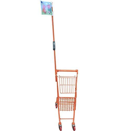 Ligera carrito de la compra con ruedas Infantil Compras Mini carretilla Inicio Supermercado Centro Comercial compra de metales en los juguetes, con brazos de adultos, 6 colores opcionales (color: amar