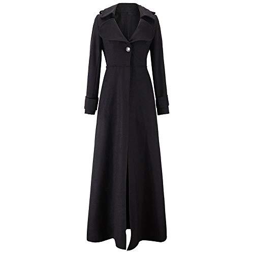 Płaszcz Długi płaszcz damski jesienny i zimowy gruby długim rękawem płaszcz płaszcz kardigan Damskie płaszcze Wuyuana (Color : Black, Size : X-Large)