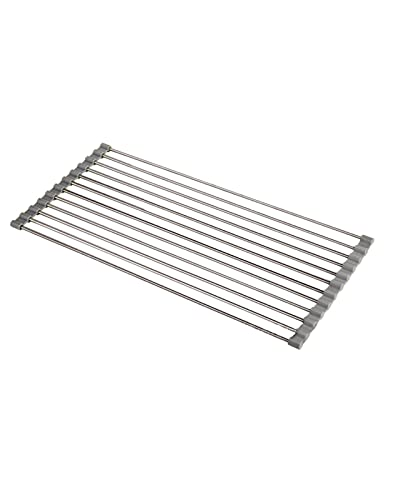 SXGKYY Folding Dish Drainer Drain Tray Stainless Sink Basket Vegetable Washing Fruit Drying Rack Kitchen(Color:gray)