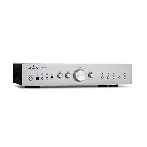auna AV2-CD608BT HiFi-StereoVerstärker, Ausgangsleistung: 4 x 100 Watt RMS, Bluetooth, Eingänge: 1 x Digital Optisch / 4 x Stereo-RCA, Infrarotfernbedienung, Frontplatte aus Aluminium, grausilber