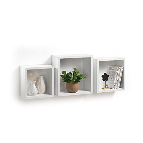 Modul'Home 6RAN789BC - Mensole a cubo, in MDF, 11,8 x 30 x 30 cm, Pannello MDF, Bianco, 3...