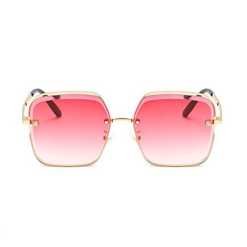 HAIGAFEW Gafas De Sol De Cristal con Lente Gafas De Sol Cuadradas para Mujer Gafas De Playa De Verano para Mujer Gafas Graduadas Proteger Los Ojos-Rojo Dorado