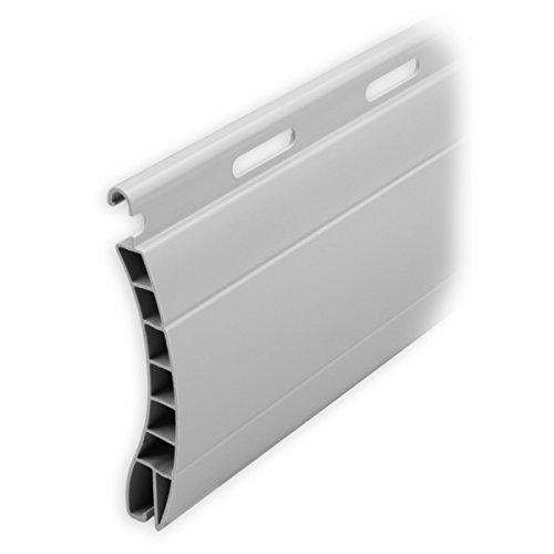 DIWARO Kunststoff Rolladen Ersatzlamelle Profil Aalen, Deckbreite 55mm Nenndicke 14mm, Fixlänge 1900 mm in der Farbe Grau (Profil Aalen | Farbe Grau | Länge 1900mm)