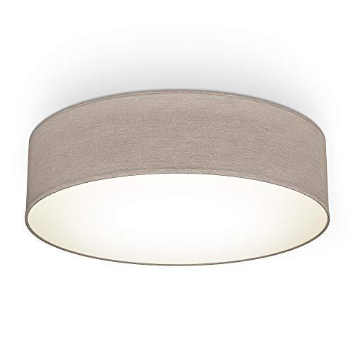 Plafoniera in tessuto, Lampada da soffitto diametro 38cm, color grigio-talpa, attacco per 2 lampadine E27 non incluse, Lampadario moderno per salotto o camera da letto, IP20