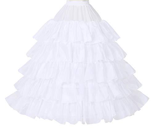 Petticoat Unterröcke Reifrock Rockabilly Rüschen A Linie Lang Vintage für Hochzeit Brautkleid S - Weiß - Gr. S/M