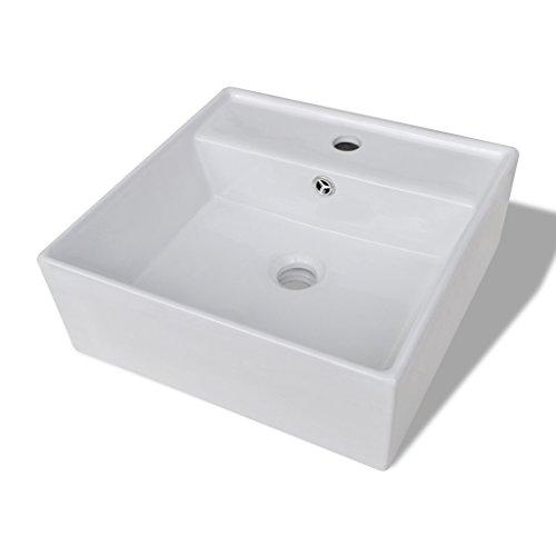 Festnight Keramik Waschtisch Eckig Waschbecken 41x41cm Handwaschbecken Keramikspülen mit ?berlauf Hahnloch für Badezimmer Waschzimmer