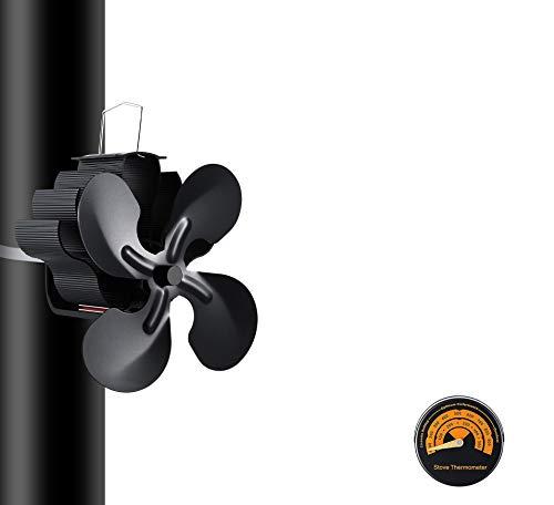 Laisetey - Ventilador silencioso para chimenea, 5 aspas con termómetro, ventilador alimentado por calor para quemadores de leña/leña, chimenea, ecológica, color negro (5 cuchillas)