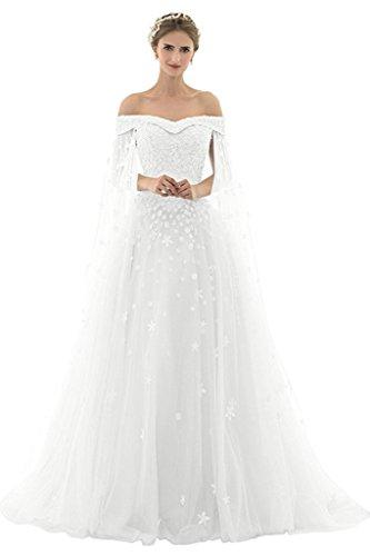 AZNA Damen Prinzessin Spitze Abendkleider Ballkleid Partykleid Hochzeitskleider Lang mit Schleppe Weiß 36