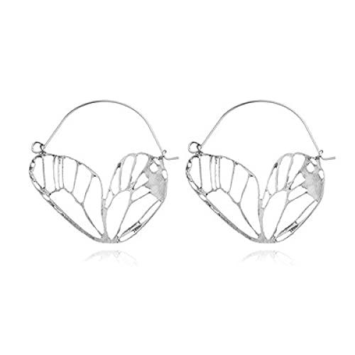 FEARRIN Pendientes Joyería de Moda Boho Metal Corazón ala Oro Color Plata Colgante Hueco Pendientes Colgantes para Mujer Oorbellen Brincos Tribe Dangle Earring Jewelry Silver