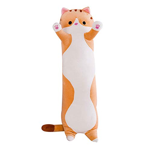 Finetoknow 110cm Long cat Plush Pillow,cat Stuffed Animal, Long Stuffed Kitten cat Body Pillow Cat Sleeping Sofa Bed Cuddly Toy Gift for Kids Baby Girls Boys Birthday Christmas